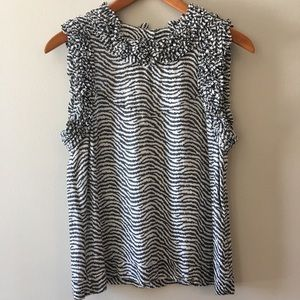 French connection sleeveless top with ruffles